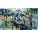 Mousse et lichen, de l'artiste Sandy Cunningham, Tableau, Acrylique sur toile, Création unique, dimension : 48 x 84 po de largeur