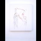 Nude I, de l'artiste Marie-Pierre Lortie, Oeuvre Encre, fil à broder sur soie, Création unique, dimension 24 x 20 pouces de largeur