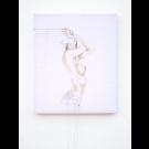 Nude II, de l'artiste Marie-Pierre Lortie, Oeuvre Encre, fil à broder sur soie, Création unique, dimension 24 x 20 pouces de largeur