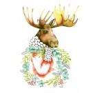 Affiche, Orignal et sa couronne, de l'artiste Katrinn Pelletier, dimension : 10 x 8 po de largeur