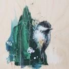Petit curieux 1, de l'artiste Anne-Marie Villeneuve, Tableau, Acrylique, fils de coton et graphite sur panneau de bois galerie, Création unique, dimension : 8 x 8 po de largeur