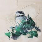 Petit curieux 2, de l'artiste Anne-Marie Villeneuve, Tableau, Acrylique, fils de coton et graphite sur panneau de bois galerie, Création unique, dimension : 8 x 8 po de largeur