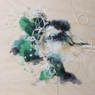 Petit curieux 4, de l'artiste Anne-Marie Villeneuve, Tableau, Acrylique, fils de coton et graphite sur panneau de bois galerie, Création unique, dimension : 8 x 8 po de largeur