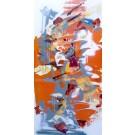Pleurotus, de l'artiste Sandy Cunningham, Tableau, Techniques mixtes sur toile, Création unique, dimension : 48 x 24 po de largeur