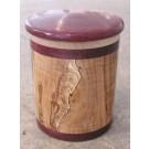 Pot, no 1, de l'artiste Richard Ouellet, pièce originale, faite de pommier coti, érable, amarante, 2 pièces, dimension : variée