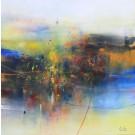 Résister aux chocs, de l'artiste Sophie Ouellet, Tableau, acrylique sur toile, Création unique, dimension : 36 x 36 po de largeur