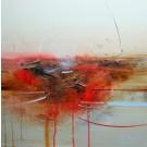 Reculer d'un pas, de l'artiste Sophie Ouellet, Tableau, acrylique sur toile cartonnée, Création unique, dimension : 16 x 16 po de largeur
