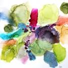 Regarde les étoiles, de l'artiste Nancy Létourneau, Oeuvre sur papier Terraskin 140 livres, marouflé sur bois profil, médium encre à l'alcool et acrylique, dimension 25.75 po x 25.75 po de largeur,