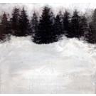 Retraite hivernale à Québec, de l'artiste Anik Lachance, Tableau, Techniques mixtes sur bois, Création unique, dimension : 6 x 6 po de largeur