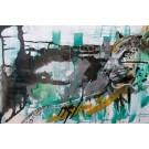 Robe du soir (t.encadré), de l'artiste Sandy Cunningham, Tableau, Techniques mixtes sur toile, Création unique, dimension : 24 x 36 po de largeur