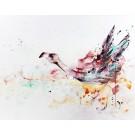 Rose salin, de l'artiste Anne-Marie Villeneuve, Tableau, Acrylique, fils à coudre, fils de coton et graphite sur toile, Création unique, dimension : 36 x 48 po de largeur