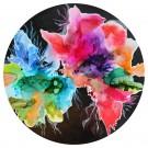 S'apprivoiser, de l'artiste Nancy Létourneau, Oeuvre sur bois plaqué merisier russe, médium encre à l'alcool et acrylique, Création unique, dimension 40 pouces de diamètre