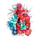 Sérénité, de l'artiste Nancy Létourneau, Oeuvre sur papier Yupo, médium encre à l'alcool, Création unique, dimension 26 x 20 de largeur