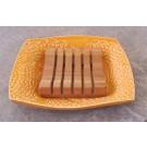 Savonnier, # 3, clémentine, de l'artiste Créations Ratté, medium : céramique, objet utilitaire cuit à très haute température, résistant au lave-vaisselle