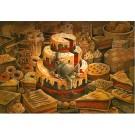 Carte de souhaits 5x7, Sombre dessert, de l'artiste Félix Girard, dimension : 5 x 7 pouces largeur, sans texte, avec enveloppe, Vous pouvez inscrire votre message à l'intérieur, Carte vendue à l'unité