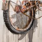 Sur place, de l'artiste Sandy Cunningham, Tableau, Techniques mixtes, Création unique, dimension : 24 x 24 po de largeur