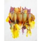 Terre inconnue (o.encadrée), de l'artiste Nancy Létourneau, Oeuvre sur papier Yupo, médium encre à l'alcool, Création unique, dimension 22 po x 18 po  de largeur