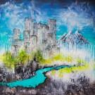 Territoire sans frontières, de l'artiste Andrée-Anne Laberge, Tableau, Encaustique sur bois, Création unique, dimension : 36 x 36 po de largeur
