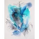 Changing winds, de l'artiste Nancy Létourneau, euvre sur papier Terraskin, médium encre à l'alcool et acrylique, Création unique, dimension 20 po x 16 po de largeur