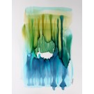 Entre terre et mer, de l'artiste Nancy Létourneau, Oeuvre sur papier Yupo, médium encre à l'alcool et acrylique, Création unique, dimension 20 x 16  de largeur
