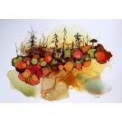 M'imprégner de la forêt, de l'artiste Nancy Létourneau, euvre sur papier Terraskin, médium encre à l'alcool et acrylique, Création unique, dimension 16 x 20 de largeur