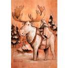 Carte de souhaits 7x5, Voyageurs nordiques, de l'artiste Félix Girard, dimension : 7 x 5 pouces largeur, sans texte, avec enveloppe, Vous pouvez inscrire votre message à l'intérieur, Carte vendue à l'unité